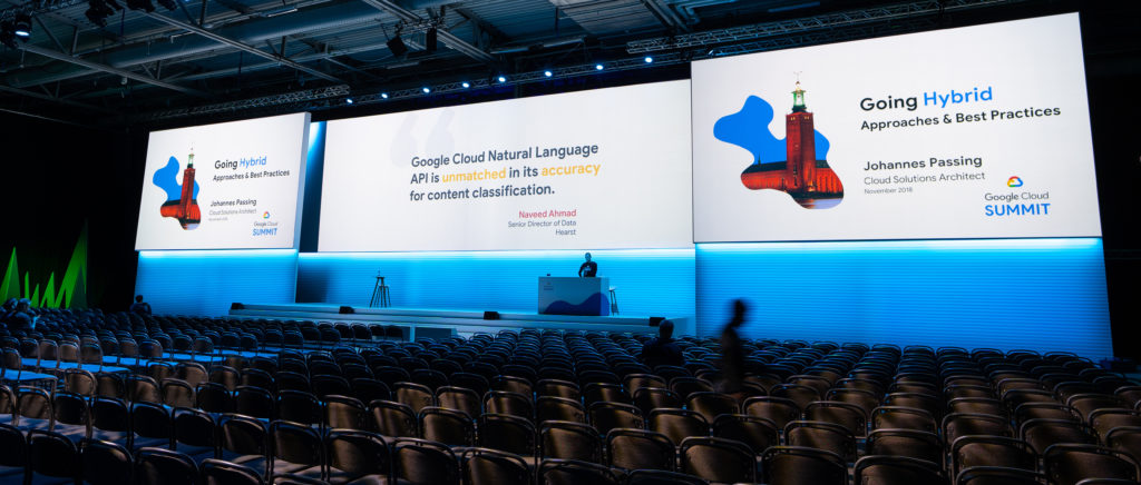 Google Cloud Summit Conference in Stockholm. Wide screen projection solution.