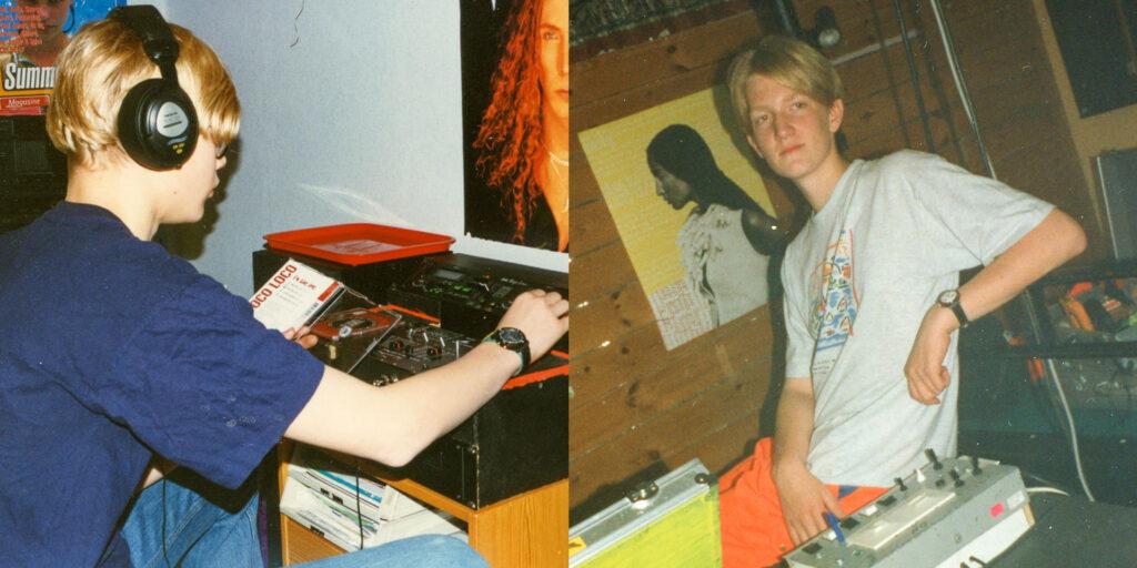 Viking och skolkamraten Jonathan som tonåringar. Viking sitter framför sin DJ-utrustning och Jonathan framför sin egenbyggda ljuskontroll.