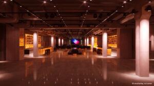 3D ritning som visar eventlokalen Solidaritet Arena där Adapt stod för installation av teknik.