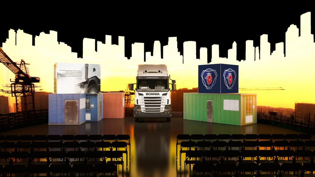 Konceptarbete för Scania. 3D design och visualisering av designad lösning för event och konferens.