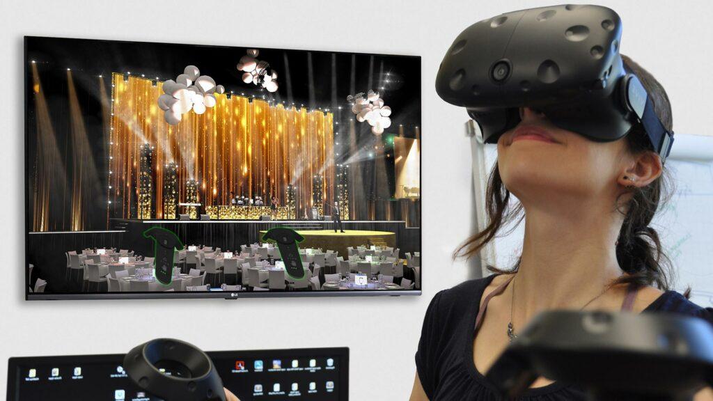 3D-visualisering i form av virtual reality. Kvinna testar virtual reality.